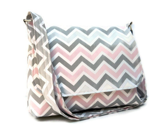 Fabric Purse Chevron Messenger - Grey and Pink Zig Zag