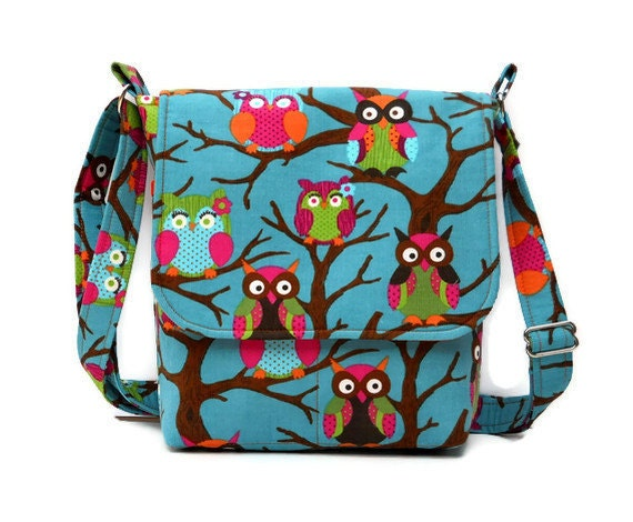 Owl Purse Small Messenger Bag - Teal Corduroy - Ready to Ship