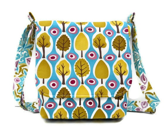 Small Cotton Messenger Bag Small Purse - Trees on Blue