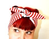 Bandanna hair tie Strips and dots, Rockabilly, Retro, 1940s, 1950s