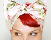 Bow style, Vintage Inspired Head Scarf, Ribbons and Flowers, Pink, rockabilly, hair, 1940s,1950s
