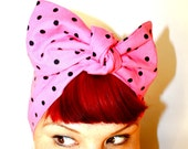 Vintage Inspired Head Scarf, Bow or Bandanna Style, Hot Pink with Black Polka Dots, Rockabilly, Retro