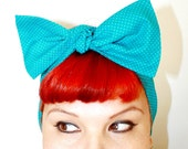 Vintage Inspired Head Scarf, Bow or Bandanna Style, Turquoise polka dots, Rockabilly, Retro, 1950s, 1940s