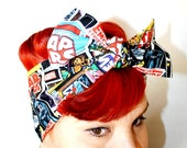 Vintage Inspired Head Scarf, Star Wars, Comic Book Covers, Darth Vader