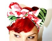 Vintage Inspired Head Scarf, Watermelon, Summer time, Pink and Green, Retro