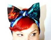 Vintage Inspired Head Scarf, Celestial, Outer Space, Planets, Science Fiction