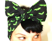 Vintage Inspired Head Scarf, Bow Style, Neon green Bats, Rockabilly, Retro