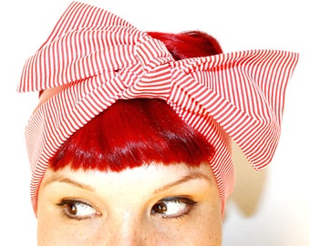 Bow style, Vintage Inspired Head Scarf, Candy Striper, Rockabilly, Retro, 1940s, 1950s