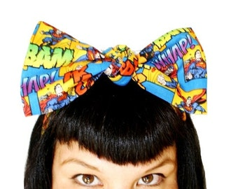 Vintage Inspired Head Scarf, Super Man, Super Hero, Marvel, Comic Book, Bam, Whap, Krack