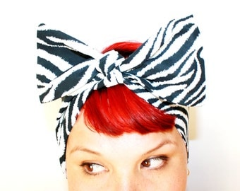 Vintage Inspired Head Scarf, Bow or Bandanna Style, Zebra print, Animal Print, Rockabilly, Retro