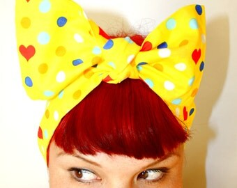Vintage Inspired Head Scarf, Bow or Bandanna Style, Dots and Hearts, Rockabilly, Retro