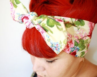 Vintage Inspired Head Scarf, Yellow with Roses, Rockabilly, Retro, 1940s