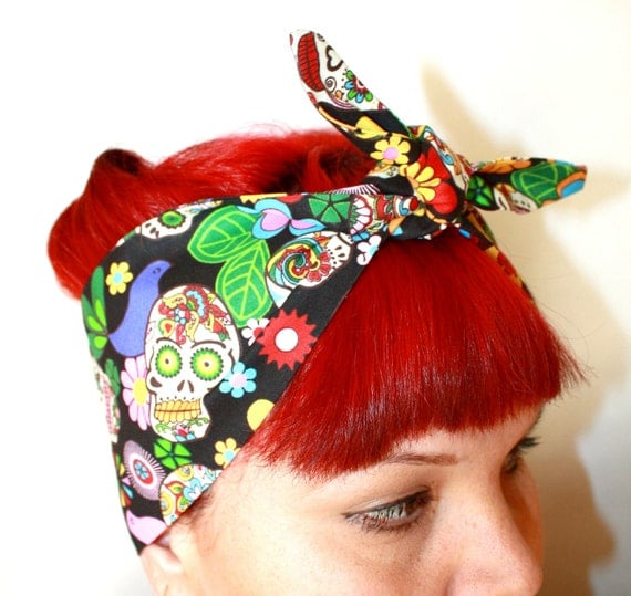 Bandanna hair tie Sugar Skull, Rockabilly, Retro