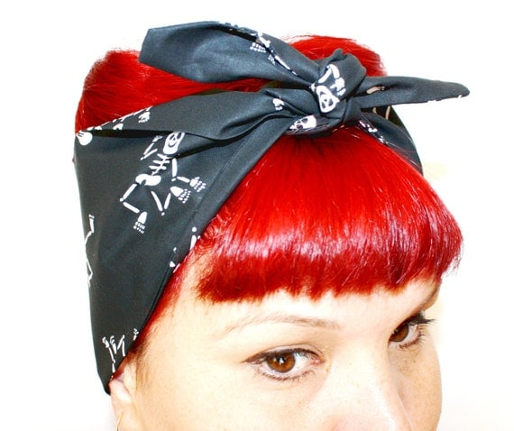Vintage Inspired head Scarf, hair tie Skeletons, Rockabilly, Retro