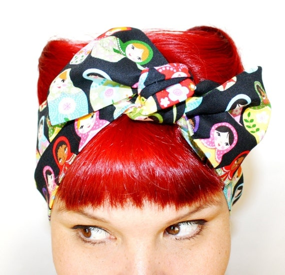 Vintage Inspired Head Scarf, Russian Dolls