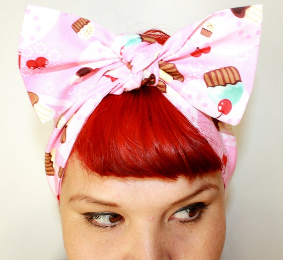 Vintage Inspired Head Scarf, Cupcakes and Cherries, Rockabilly, Retro