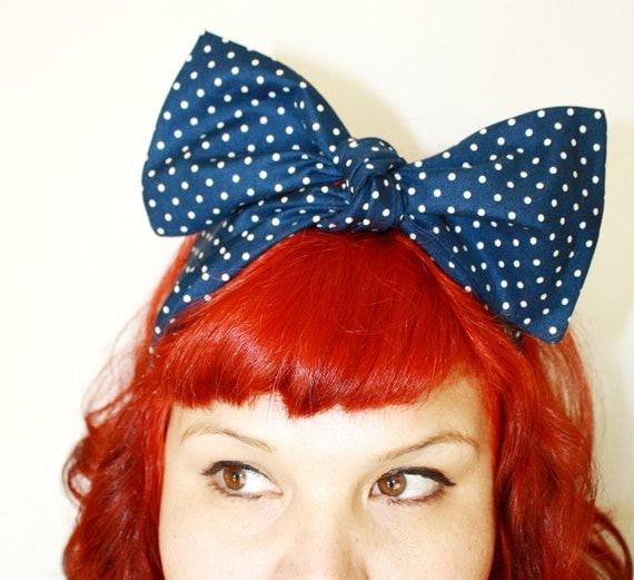 Vintage Inspired Head Scarf, Bow or Bandanna Style, Navy Blue, Polka Dots, Nautical, patriotic, Rockabilly, Retro, 1940s, 1950s