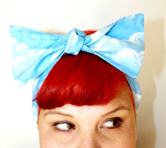 Vintage Inspired Head Scarf, Clouds, Sky Blue, Summer time, Retro