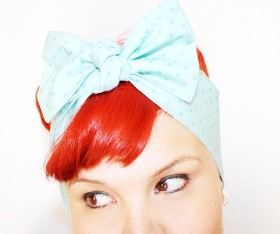 Vintage Inspired Head Scarf, Bow or Bandanna Style, Powder Blue, Polka Dots, Rockabilly, Retro, 1940s, 1950s