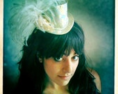Bridal Mini Top Hat - Something Blue - White, Gold, Pink, Blue, Ostrich Feathers - LAST ONE - Ready to SHIP