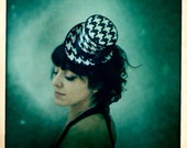Black and white Mini Top Hat Houndstooth