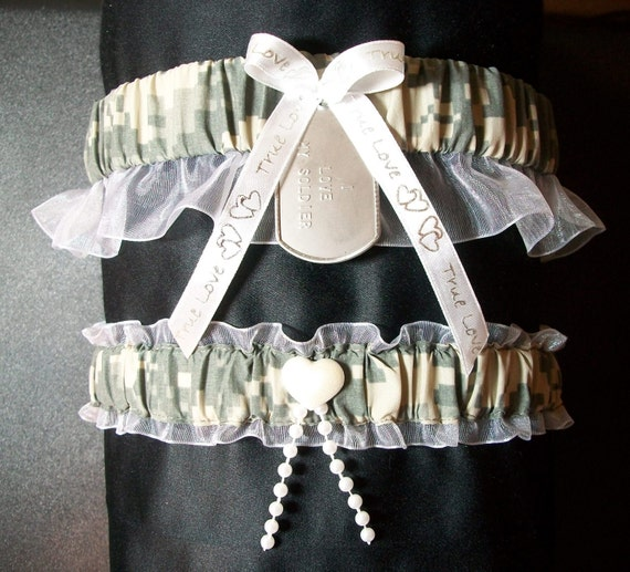 Air Force Wedding Garter: Military Digital Camo Garter Set With Personalized Dog Tag In
