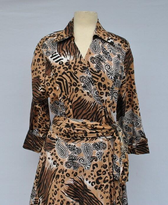 Vintage 80s leopard print wrap dress 1x plus size