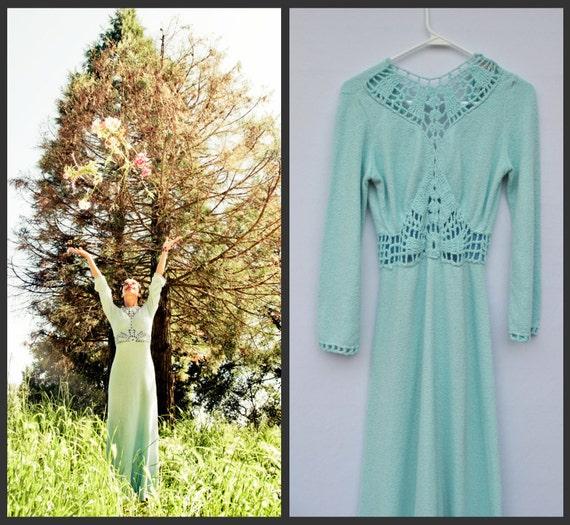 vintage 60s baby blue art deco cable knit maxi dress