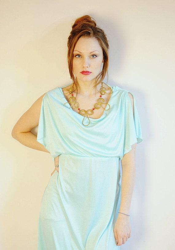 vintage 70s disco goddess mint dress