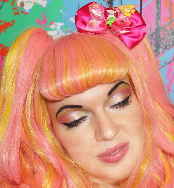 Little Mermaid Satin BIG Kawaii Hair Jewelry Bow Fascinator Floral Rose Lolita Kawaii Glitz Pageant Clip