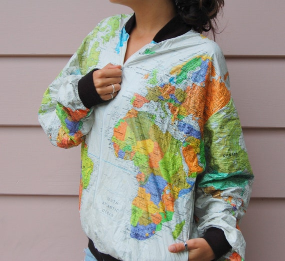 Vintage 80s Neon Wearin The World Earth Map Globe Tyvek Jacket Coat-Unisex Large