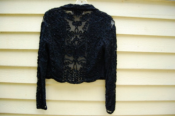 Vintage Beaded CACHE Sheer Black Lace Evening Jacket Cover Up