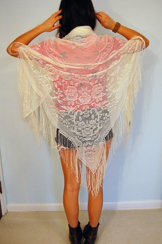 Vintage 60s White Lace Sheer Rose Flower Shawl Wrap with Fringe