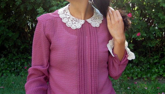 Vintage Lace Collar Blouse with White Lace Peter Pan Collar Longsleeves Dusty Rose