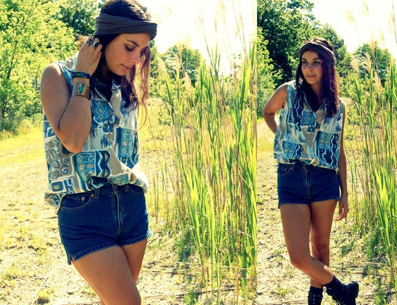Vintage 80s Abstract Denim Colored Tank Cut Off Tee