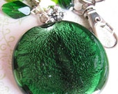 Beaded Keychain / Handbag Charm - Lg Green Round
