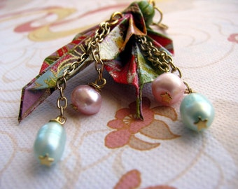 Origami Leaf Earrings - Pearls and Blossoms