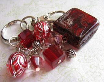 Beaded Keychain/Handbag Charm - Red Square