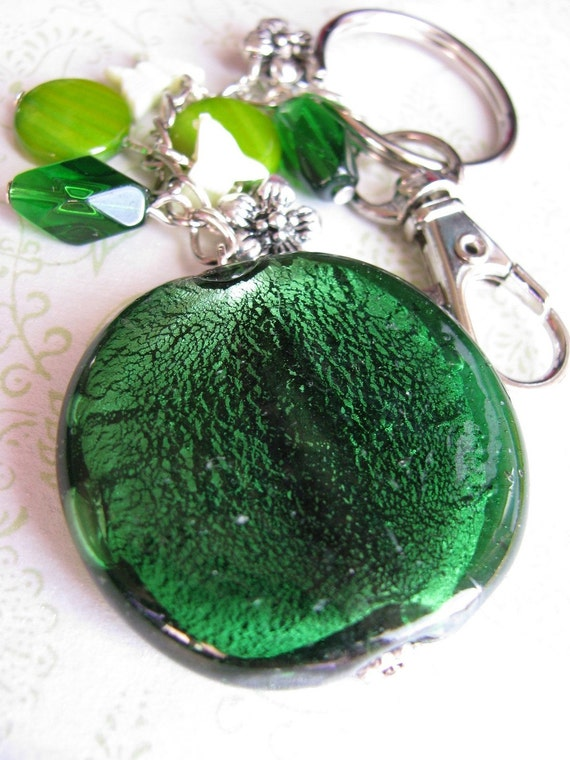 Beaded Keychain / Handbag Charm - Lg Green Round