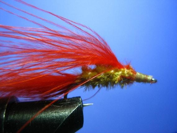 fly fishing streamer, tan chenille, orange feathers