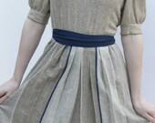 Vintage Dress Classic School Girl Linen Blue Sash Size 6