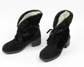 Vintage Boots Eskimo Faux Fur Black Leather Suede Size 7