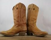 Vintage Cowboy Boots Honey Caramel Mens Distressed