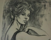 Vintage Art Lithograph Print Framed Black White Pencil Drawing Woman Long Hair