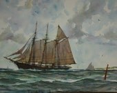 RESERVED FOR RYAN Vintage Art Lithograph Prints Set of Five Gordon Grant Nautical Clipper Ships Maritime Water Color