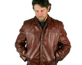Vintage Mens Jacket Leather Bermans Bomber Mahogany RESERVED FOR TES