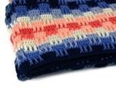 Vintage Afghan Blanket Crocheted Southwest Blue Cream Orange RESERVED For Kate