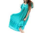 Vintage Dress Turquoise Summer Cotton