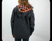 Vintage Denim Jacket Hooded Plaid Hipster