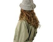 Vintage Hat Handwoven Wool Tweed Donegal Ireland Scotland Yard Houndstooth Sherlock Holmes